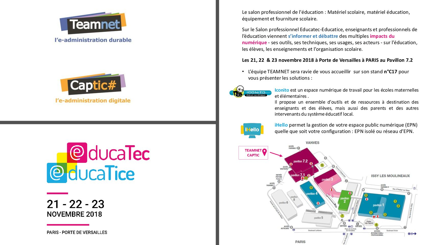 Salon EDUCATEC – EDUCATICE 21, 22 et 23 novembre 2018.